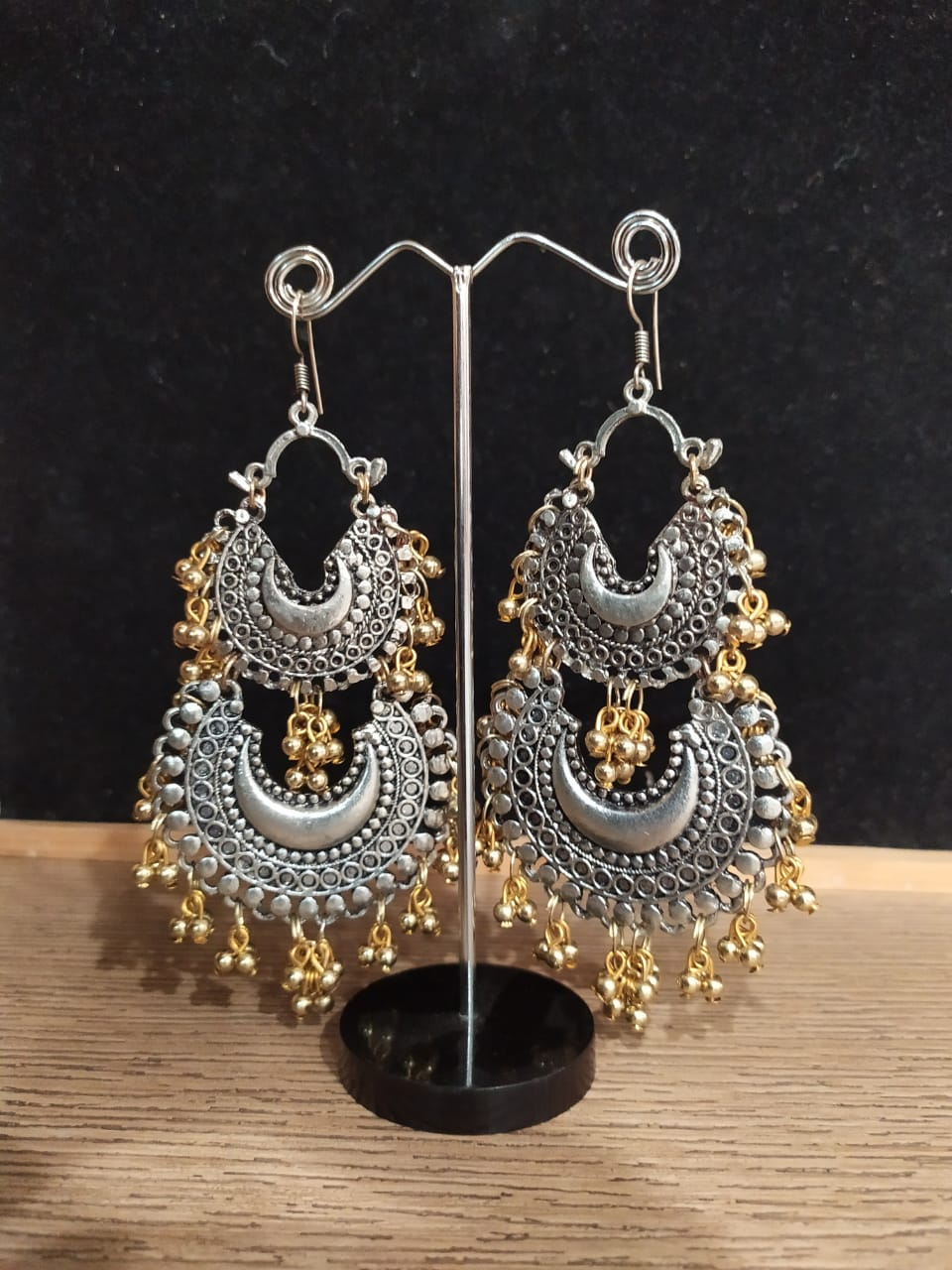 Silver With Earrings Gold Embellishment