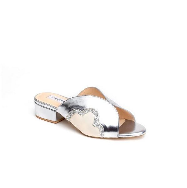 Silver Leather Slider Flats