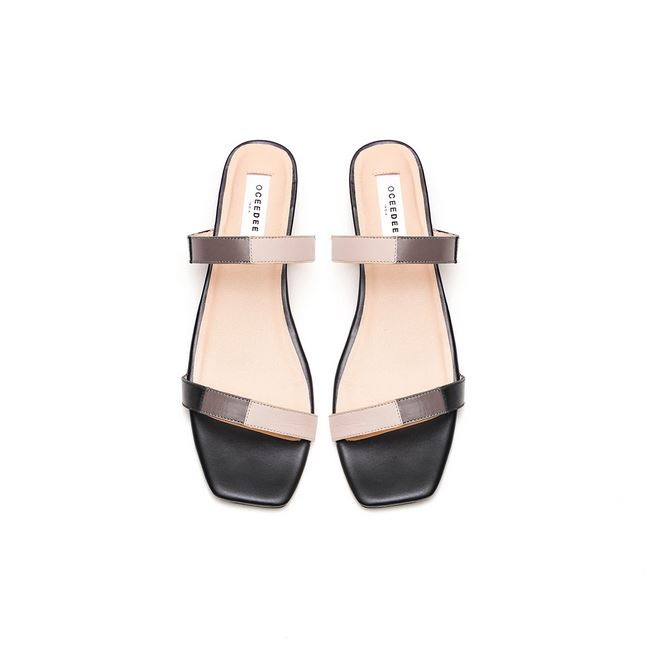 Grey, Ivory & Black Leather Flat Sandals With Straps