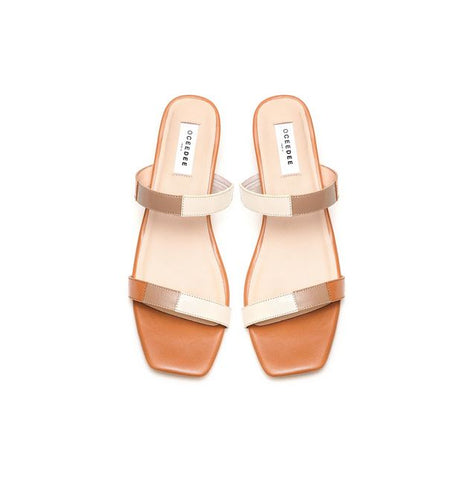 Tan, Ivory & Grey Leather Flat Sandals With Straps