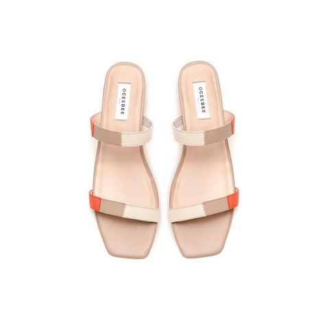 Orange, Beige & Ivory Leather Flat Sandals With Straps