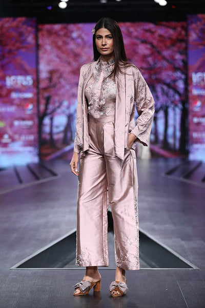 Pink Embroidered Kimono Jacket with Trouser & Organza Frilled Shirt