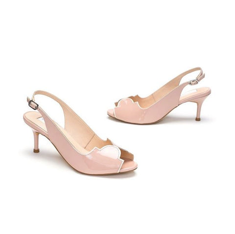 Blush Leather Peep-Toe Sandal Heels