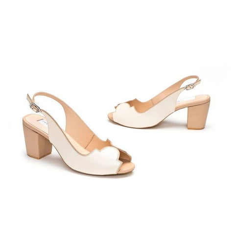 Ivory Leather Peep-Toe Sandal Heels