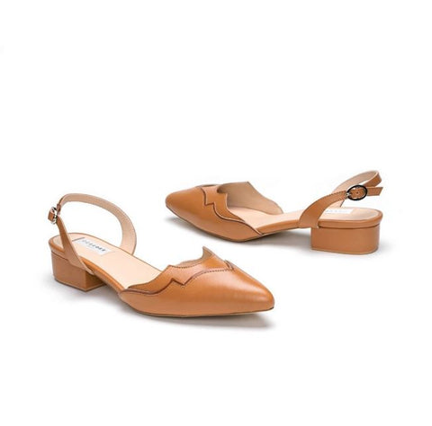 Tan Leather Pointed Flat Sandals With Back Straps
