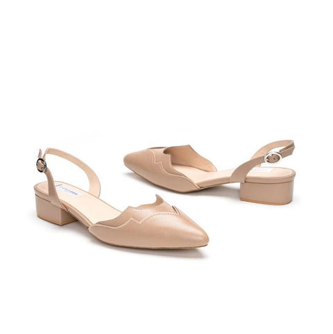 Beige Leather Pointed Flat Sandals With Back Straps