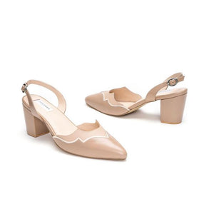 Beige Pointed Leather Pumps With Back Strap