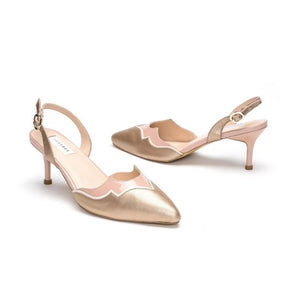 Gold Pointed Leather Pumps With Back Strap