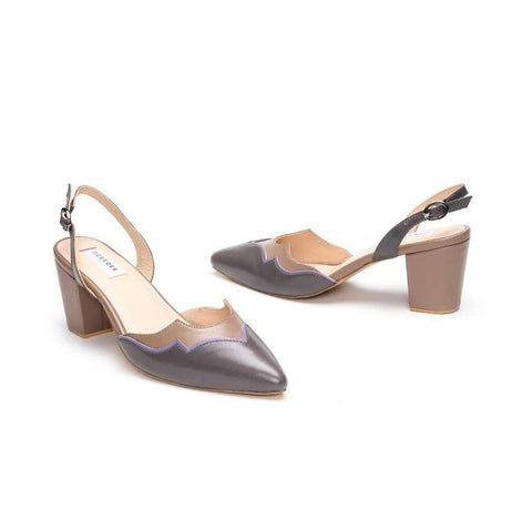 Grey Pointed Leather Pumps With Back Strap