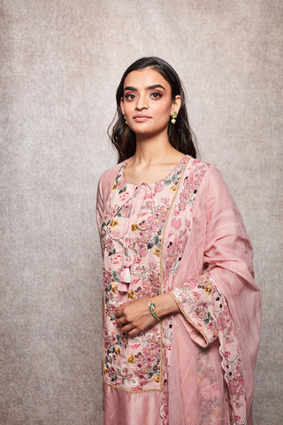 Salmon Embroidered Kurta With Salwar & Dupatta