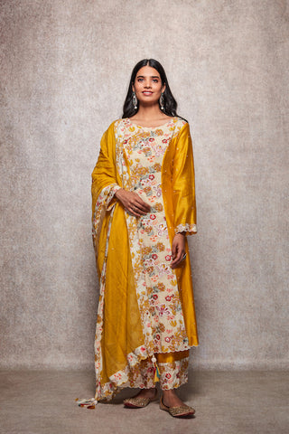 Mustard Floral Embroidered Kurta With Palazzo & Dupatta