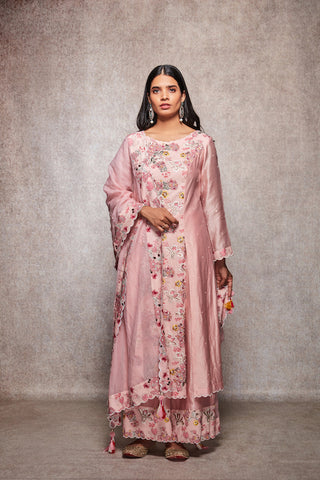 Salmon Floral Embroidered Kurta With Palazzo & Dupatta