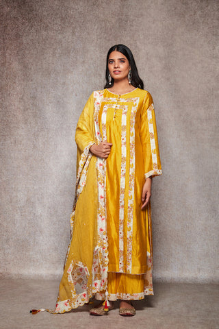 Mustard Straight Embroidered Kurta With Palazzo & Dupatta