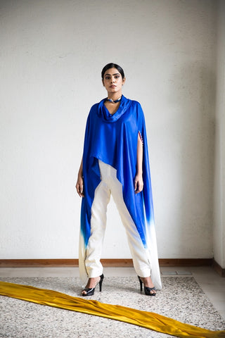 Cobalt Blue Ombre Cape With Pearl Work on Sleeves