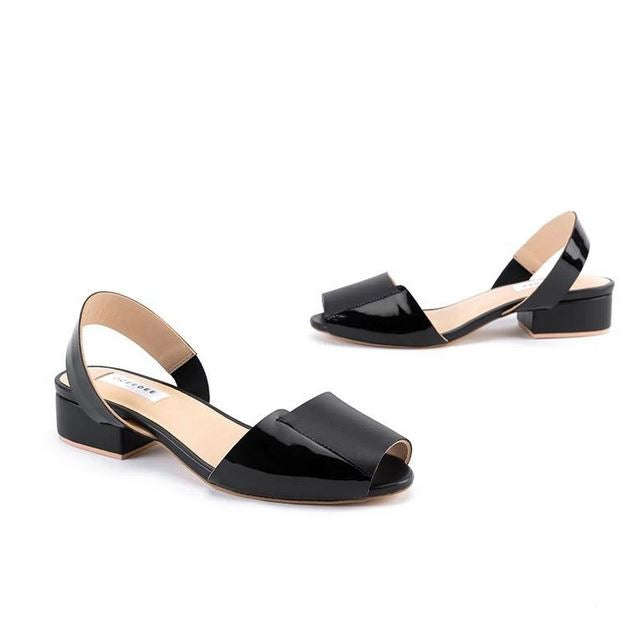 Black Pure Leather Low Block Heel Sandal Flats