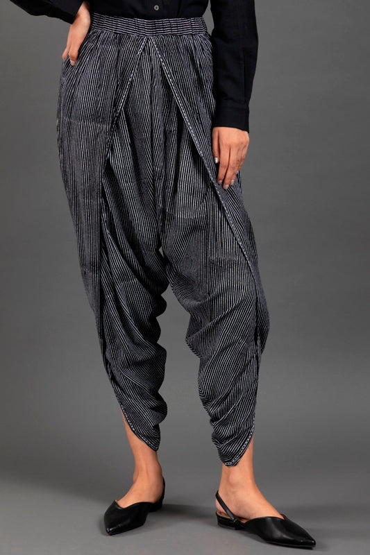 Black & Ivory Block Printed Dhoti Pants