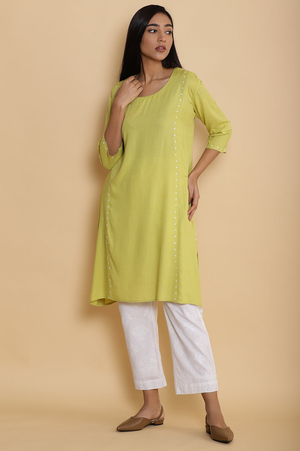 Lemon Side Dot Embroidered Long Kurta
