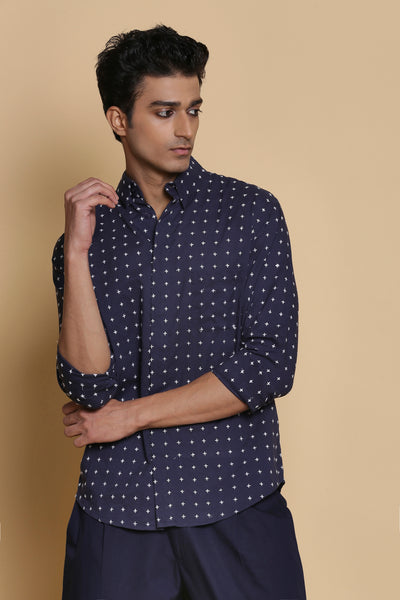 Indigo Star Stitch Embroidered Cotton Shirt
