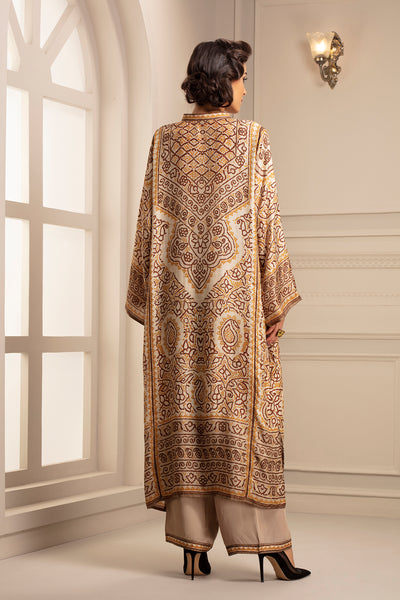Ivory Bandhani Tunic with Mandarian Collar Neckline & Palazzo Pant with Print Border