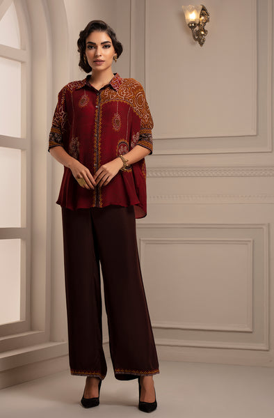 Red Shirt with Drop Sleeves and Palazzo Pants