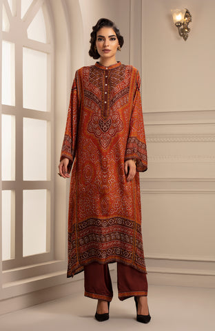 Rust Tunic with Mandarian Collar and Palazzo Pant