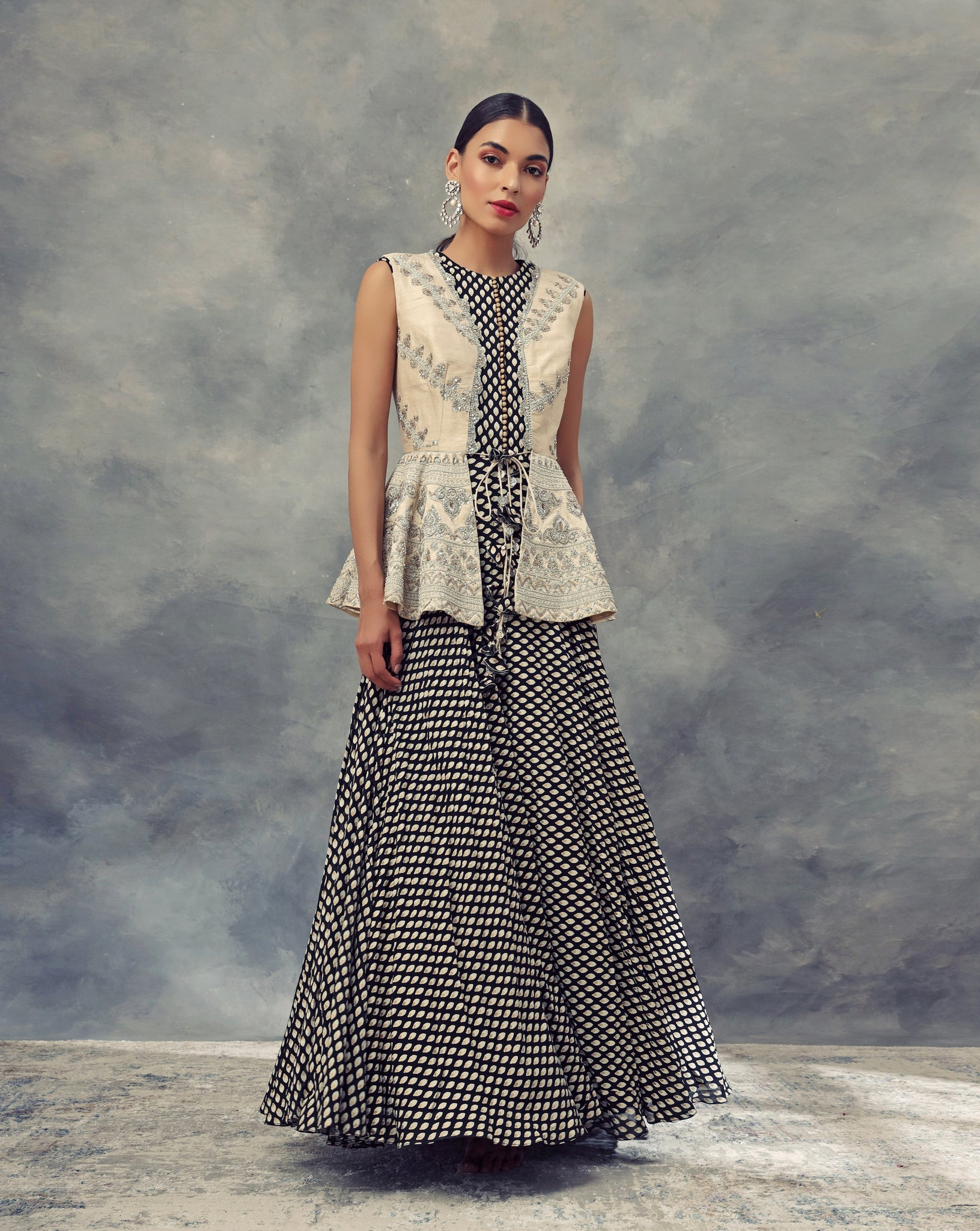 Ivory Embroidered Jacket With A Black Bindu Print Anarkali
