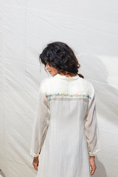 Ivory Alabaster Cotton Silk Kurta With Hand Embroidery
