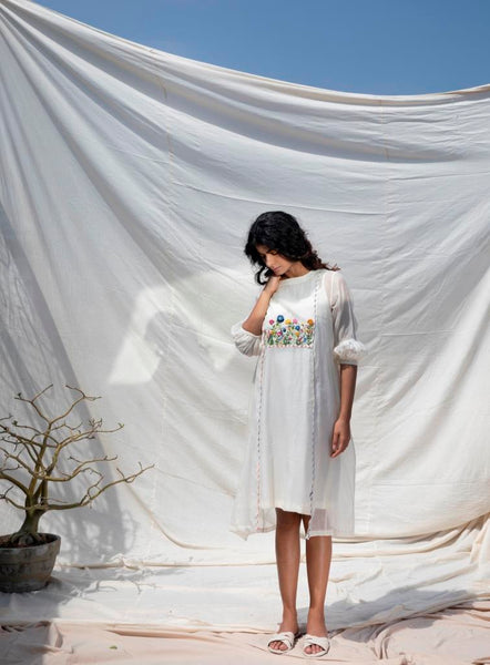 Ivory Cotton Silk Snow Dress With Hand Embroidery