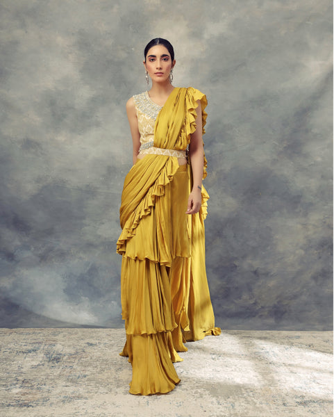 Mustard Yellow Layered Saree With Moroccan Print Embroidered Blouse