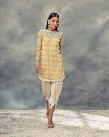 Mustard Yellow Printed Kurta With Embroidered Neckline Paired With Dhoti Pants