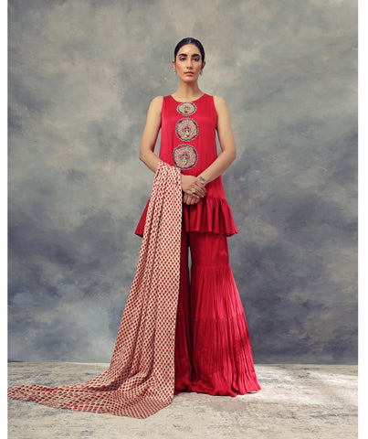 Ruby Red Frill Kurta & Sharara Set