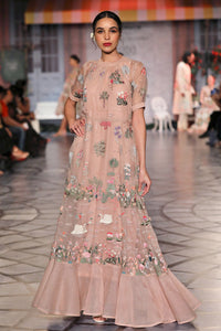 Pink Hans Bageecha Embroidered Pleated Gown