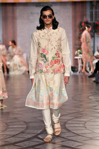 Off White Multi Embroidered Gulmohar Koti