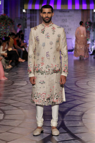 Off White Multi Embroidered Hans Bageecha Sherwani
