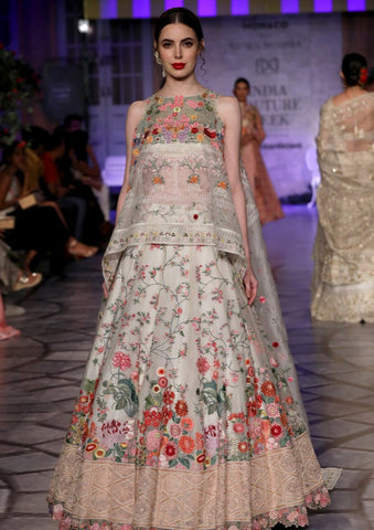 Ivory Gulmohar Multi Embroidered Lehenga