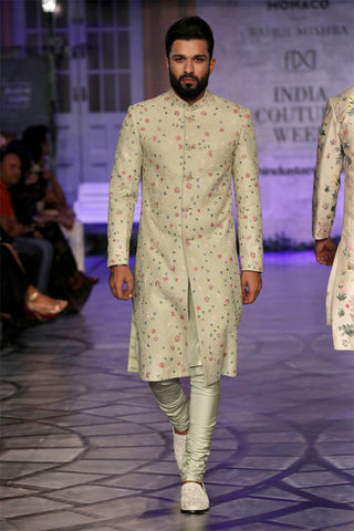 Mint Green Multi Embroidered Phool Jaal Sherwani