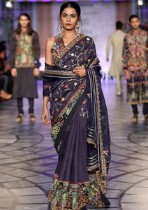 Navy Gulistan Hand Embroidered Saree