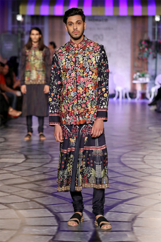 Navy Multi Embroidered Gulistan Floral Koti