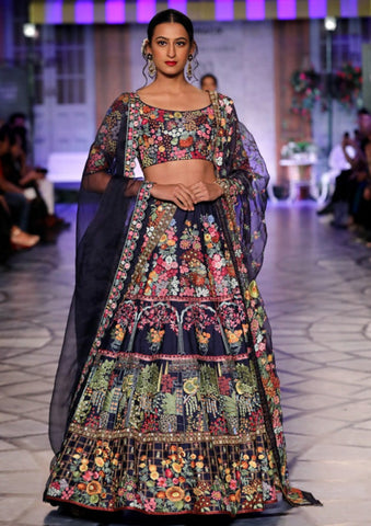 Navy Gulistan Embroidered Lehenga