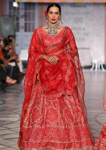 Red Elysian Hand Embroidered Lehenga