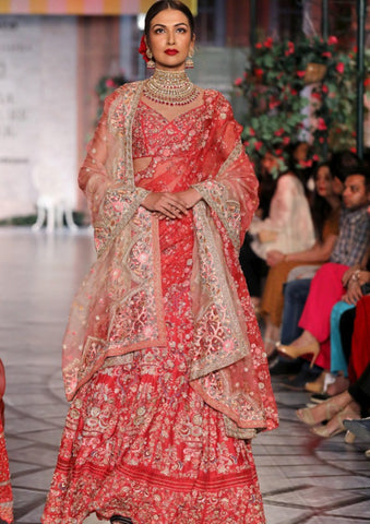 Red Gul-E-Bahar Embroidered Lehenga