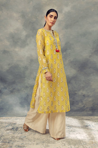 Mustard Yellow Ambi Print Long Kurta With Pallazo Pants