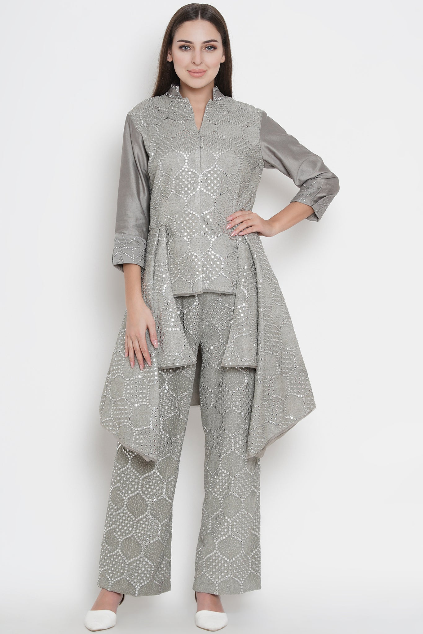 Grey Mirror Work Jacket With Asymmetric Layers