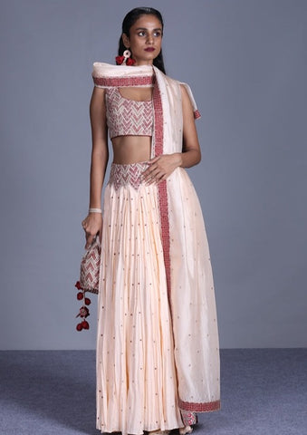 Buttercup Peach Crushed Lehenga With Embroidered Waist & Blouse Paired With Dupatta