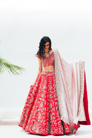 Red Embroidered Lehenga Set With Blush Pink Embroidered Dupatta
