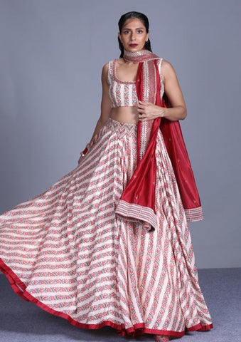 Cream-Ivory Printed Chanderi Silk Lehenga With Embroidered Blouse And Dupatta