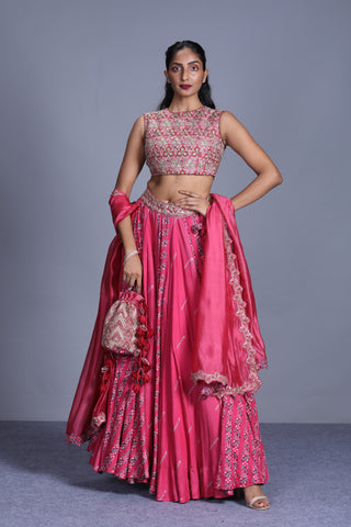 Rapture Rose Printed Lehenga With Embroidered Blouse And Dupatta