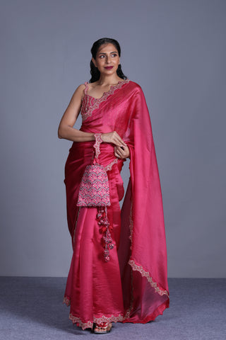 Rose Pink Organza Saree With Embroidered Blouse