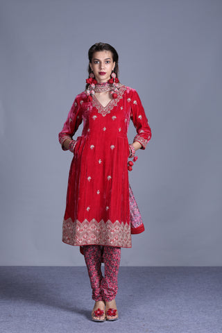 Red Velvet Kurta With Hand Embroidery Paired With Churidar And Dupatta