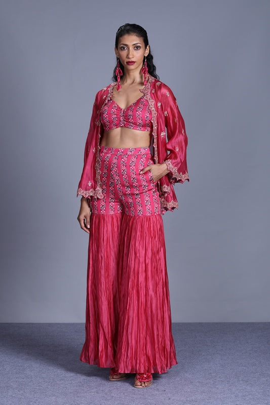 Rose Pink Printed Sharara With Embroidered Bustier And Organza Cape